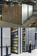 Heavy duty mobile shelving for archive storage