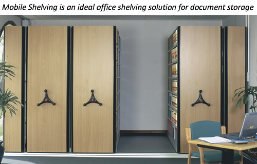 Mobile Shelving is an ideal office shelving solution for document storage.